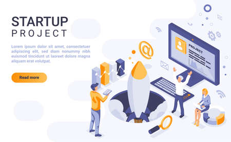 Startup project landing page vector template with isometric illustration. Corporate strategy launch homepage interface layout with isometry. Initiating new business 3d webpage design idea