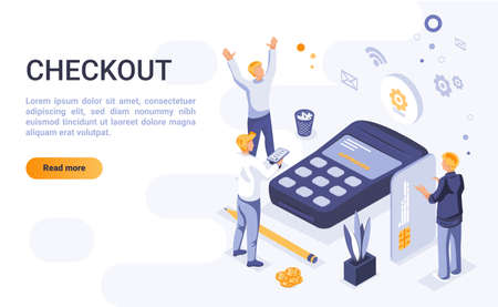 Checkout landing page vector template with isometric illustration. Online payment homepage interface layout with isometry. E-shopping. Electronic commerce. Digital purchase 3d webpage design idea