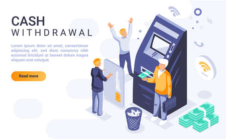 Cash withdrawal landing page vector template with isometric illustration. Money operations and financial transactions homepage interface layout with isometry. Banking service 3d webpage design idea Ilustrace