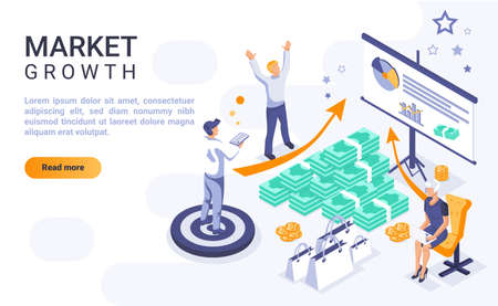 Market growth landing page vector template with isometric illustration. Company expansion strategies homepage interface layout with isometry. Business development 3d webpage design idea