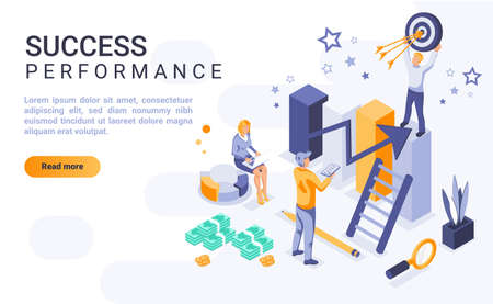 Success performance landing page vector template with isometric illustration. Business goal achievement homepage interface layout with isometry. Company growth, reaching target 3d webpage design Ilustrace