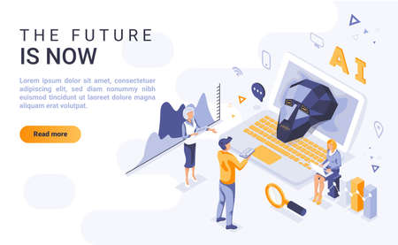 Future is now landing page vector template with isometric illustration. Artificial intelligence and neural networks homepage interface layout with isometry. AI study 3d webpage design idea