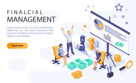 Financial management landing page vector template with isometric illustration. Economic literacy homepage interface layout with isometry. Corporate economic planning 3d webpage design