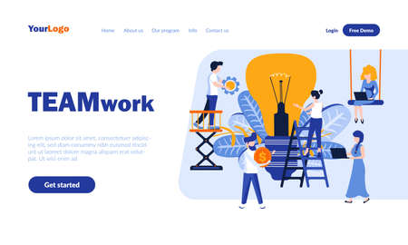 Teamwork flat landing page template with header. Staff cooperation, coworking web banner, homepage design. Business partnership vector illustration. Harmonious joint work principles concept 矢量图像