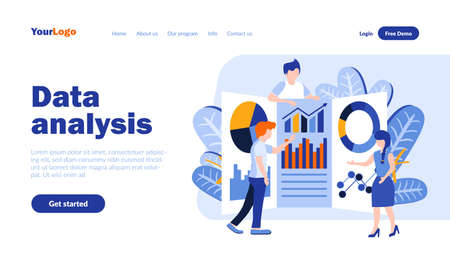 Data analysis flat landing page template with header. Analytics and statistics web banner, homepage design. Financial service vector illustration. Business research and forecast concept Vetores