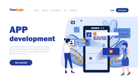 Mobile app development vector landing page template with header. Application programming web banner, homepage design with flat illustrations. Modern microcircuit system. Software concept