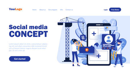 Social media vector landing page template with header. Online communication app web banner, homepage design with flat illustrations. Network users cartoon characters. Keeping in touch concept