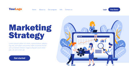 Marketing strategy vector landing page template with header. Market expansion, product promotion web banner, homepage design with flat illustrations. Business development, e-commerce concept Illusztráció