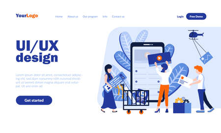 UI and UX design vector landing page template with header. Application development homepage design with flat illustrations. Programmers , web designers cartoon characters. Software, technology concept Vektorové ilustrace