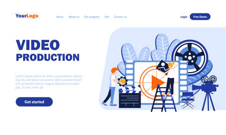 Video production vector landing page template with header. Movie creation web banner, homepage design with flat illustrations. Film editors, producers cartoon characters. Filming concept Vektorové ilustrace