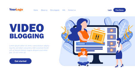 Video blogging vector landing page template with header. Vlogging web banner, homepage design with flat illustrations. Bloggers, critics cartoon characters. Film review, internet blog concept