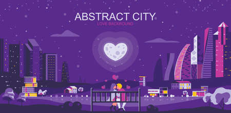 Vector illustration in simple flat style - romantic city landscape with couple in love - abstract valentine day banner and love background with copy space for text - header image for landing page. Ilustrace