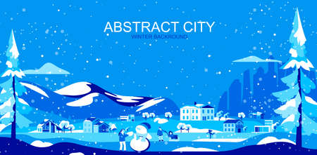 Vector illustration in simple flat style - suburban landscape with houses and people - abstract horizontal banner and winter background with copy space for text - header image for landing page.