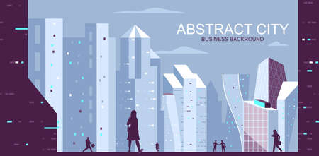 Vector illustration in simple flat style - metropolis skyline with skyscrapers- abstract contemporary architecture banner and business background with text space - header image for landing page.