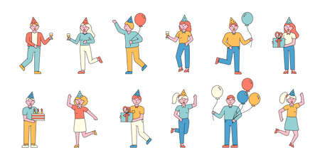 Party guests flat charers set. Joyful people with balloons at festive event cartoon illustrations. Friends in party hats having fun, holding presents. Special occasion, birthday celebration