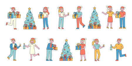 New Year celebration flat charers set. People in Santa hats sharing presents cartoon illustrations pack. Xmas preparation. Friends dancing at wintertime festival. Christmas eve fun