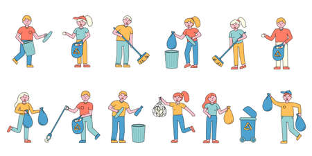Garbage collecting flat charers set. People sorting glass and plastic litter in containers cartoon illustrations pack. Trash recycling. Waste management , environmental pollution control Ilustração