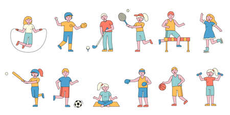 Sportsmen flat charers set. People doing sports cartoon illustrations pack. Training, exercising. Baseball, tennis, basketball players. Active lifestyle fans. Woman skating, pricing yoga Reklamní fotografie - 134378362