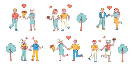 Romantic couples flat charers set. People in love meeting in park cartoon illustrations collection. Feelings expression, dating. First date romance. Happy boyfriend and girlfriend meeting