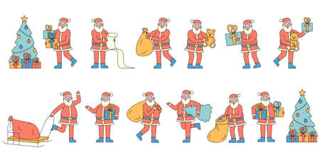 Santa Claus with gifts flat charers set. People wearing red Christmas costumes carrying presents. Reading wish list. Traditional Xmas mascot near fir tree holding sack with gifts 일러스트