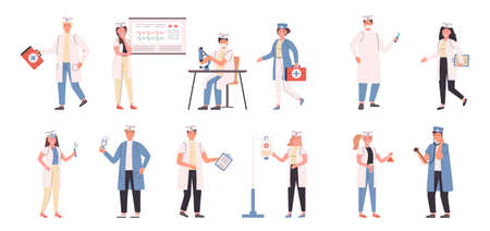 Doctors and nurses flat vector illustrations set. Medicine, medic specializations, hospital workers. Physicians, people with medical equipment cartoon characters bundle isolated on white background