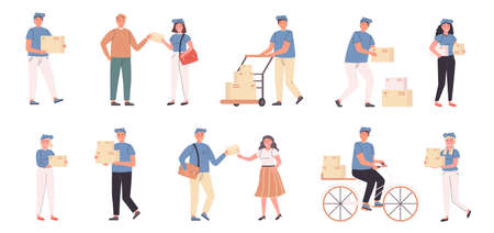 Deliverymen and addressees flat vector illustrations set. Parcel delivery, shipping service. People with mailings, couriers and consignees cartoon characters bundle isolated on white background