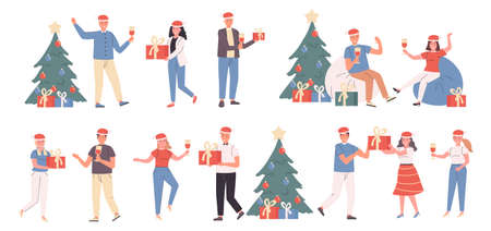 New Year party, Christmas celebration, winter holiday flat vector illustrations set. Conviviality, festive mood. Smiling people with Xmas gifts cartoon characters bundle isolated on white background Ilustração