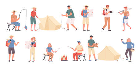 Camping trip, leisure at nature, eco friendly rest flat vector illustrations set. Fishing, campfire, mushroom picking. Campers, resting people cartoon characters bundle isolated on white background