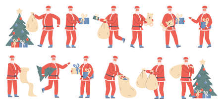 Santa Claus with Christmas gifts flat vector illustrations set. Winter holiday preparation, Xmas tradition. People in Santa costume cartoon characters bundle isolated on white background