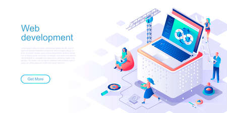 Web development landing page vector template. Program usability and performance website header UI layout with isometric illustration. Fullstack app engineering, devops web banner isometry concept Vektorgrafik