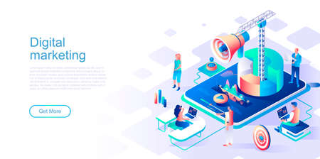 Digital marketing landing page vector template. Target advertising content website header UI layout with isometric illustration. Viral trend, e-commerce campaign web banner isometry concept Illustration