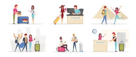 Cheerful young tourists cartoon characters set. Tourism, holiday adventure flat vector illustrations pack. Happy travelers packing bags, buying tickets and taking pictures. People on vacation Ilustracja
