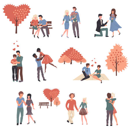 Young couples in love cartoon characters set. Boyfriends and girlfriends, people in romantic relationship flat vector illustrations pack. Husbands and wives, spouses celebrate Valentine day together