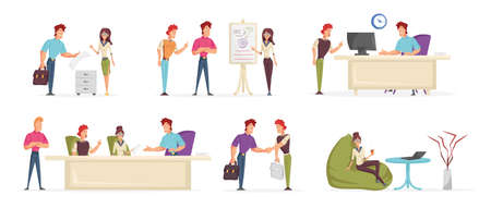 Business people, office workers cartoon characters set. Friendly coworkers, company employees flat vector illustrations pack. Directors board, team meeting, colleagues working together