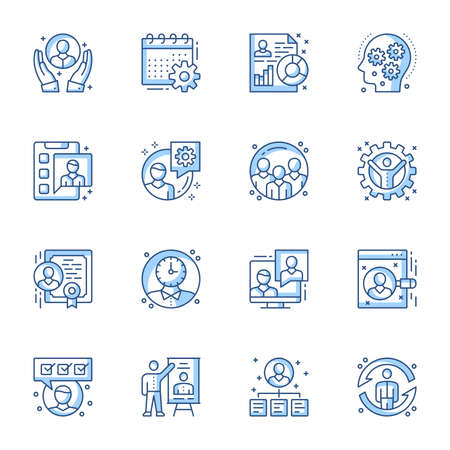 Office management linear vector icons set. Workforce organization, corporate employees work supervise contour symbols isolated pack. Team leader, manager presentation thin line illustrations