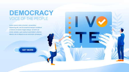 Democracy flat landing page with header, banner vector template. Governmental form, people choosing governing legislation, voting on elections, polling and balloting. Voice of people website layout Иллюстрация