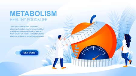 Pagina di destinazione piatta del metabolismo con intestazione, modello di vettore banner. Cibo sano e corpo, dieta, layout del sito web per perdere peso. Pagina web sul trattamento dell'obesità. Personaggio dei cartoni animati nutrizionista