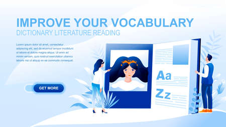 Vocabulary improvement flat landing page with header. Learning new words and phrases, reading literature. Online dictionary website layout, foreign language courses banner vector template
