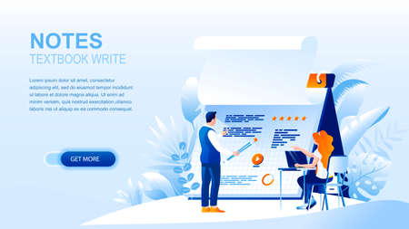 Textbook notes flat landing page with header. Planning and scheduling website layout. People cartoon characters writing in notepad. Time management and workspace organising banner vector template 일러스트