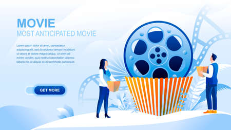 Movie flat landing page with header, banner vector template. Most anticipated movie, cinematography, film watching website layout. Viewers, moviegoers cartoon characters with popcorn