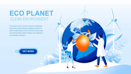 Eco planet flat landing page with header. Clean environment website layout. Save planet webpage. Solving environmental and ecological problems, eco friendly living banner vector template