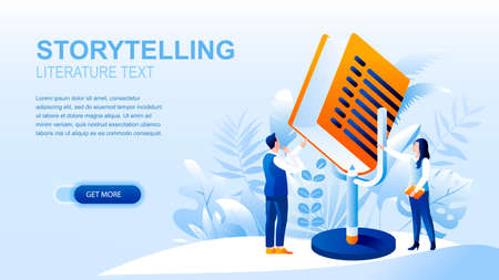 Storytelling flat landing page with header, banner vector template. Sharing stories, reading books, literature text website layout. Online bookshop webpage. People cartoon characters