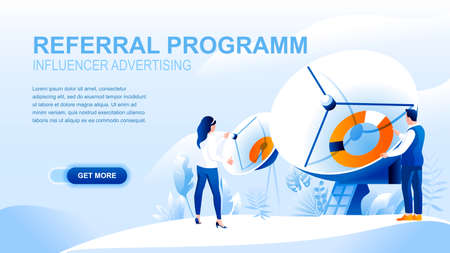 Referral program flat landing page with header. Influencer advertising website layout. Social media marketing strategy, product placement, promotion and advertisement banner vector template