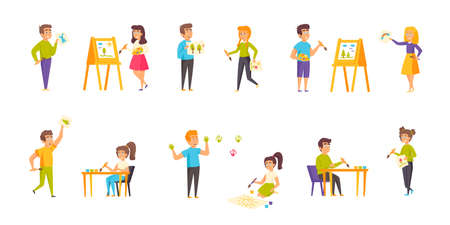 Painting children flat vector illustrations set. Art lesson, master class scenes bundle. Smiling people, boys and girls with easels, palettes and paint brushes cartoon characters collection