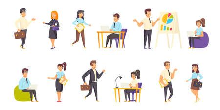 Businesspeople, office managers flat vector illustrations set. Project discussion, business meeting, conference scenes bundle. Busy people, businessmen and businesswomen cartoon characters collection