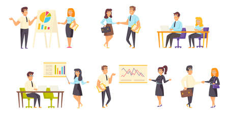Business meeting flat vector illustrations set. Project discussion, negotiations, conference scenes bundle. Businessmen and businesswomen, office workers, managers cartoon characters collection