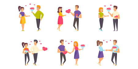 Saint Valentines Day flat vector illustrations set. Romantic date, dating, rendezvous scenes bundle. Enamored couples, people in love, men and women with flower bouquets cartoon characters collection