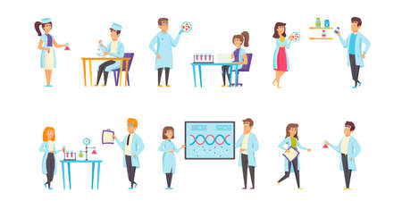 Medical laboratories flat vector illustrations set. Experiment, scientific research scenes bundle. Scientists and assistants, chemists, people in medical gowns cartoon characters collection Ilustração