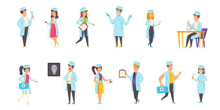 Medical staff flat vector illustrations set. Consultation, analysis, examination scenes bundle. Clinic personnel, doctors and nurses, people in medical gowns cartoon characters collection Vektorové ilustrace