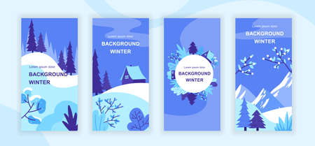 Winter landscape social media stories design templates vector set, backgrounds with copyspace - rural scenery - backdrop for vertical banner, poster, greeting card - winter sceneries concept